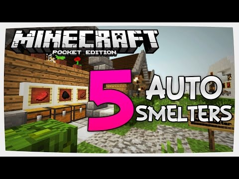 (0.15.6)-machine-made!- -5-automatic-redstone-smelters- -minecraft-pe-(pocket-edition)