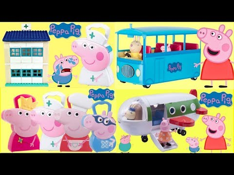 Peppa Pig with Superhero George, School Bus, Hospital Duplo & Holiday Plane Playset