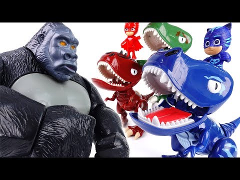 Thumbnail: King Kong in The PJ Masks Headquarter~! Turn Into Dinosaurs To Defeat King Kong