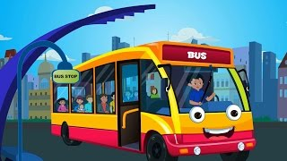wheels on the bus goes round and round nursery rhymes for children and kids songs