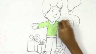 How to Draw a Birthday Boy with Gifts