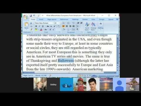 European vs, American Culture - Reading and Conversation