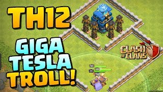 TH12 GIGA TESLA TROLL BASE! Clash of Clans Update Gameplay! CoC Town Hall 12 New Defense!