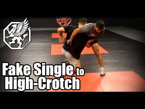 Wrestling technique -  Fake single to high crotch