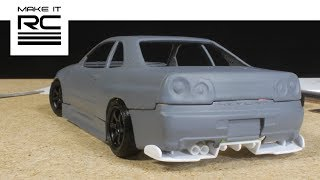Smoothing 3D Printed Skyline Body, Designing Wheels, and Scratch Building Rear Diffuser (E4)