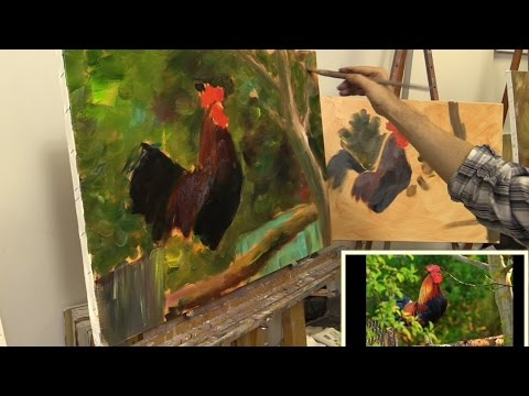 Петух на заборе. Урок масляной живописи на двух холстах. Как  нарисовать петуха маслом. Oil painting