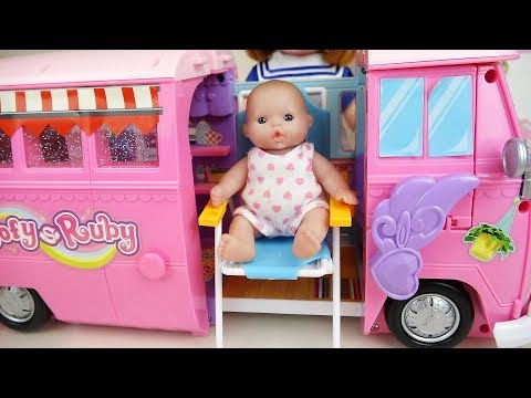 Baby doll Bus camping car toys baby Doli play