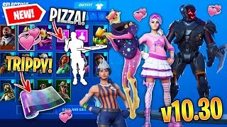 *NEW* All Fortnite v10.30 LEAKED SKINS & EMOTES! *VISITOR MECH* (Pepperoni, Sizzle SGT, Pizza Party)