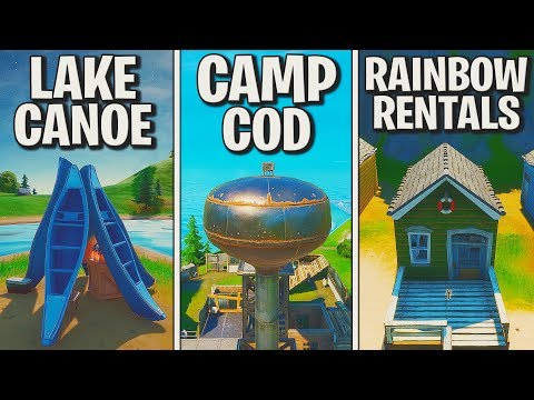 fortnite:-tanze-bei-lake-canoe,-camp-cod-und-rainbow-rentals-🕺-alle-3-orte!-muskelkater- -detu