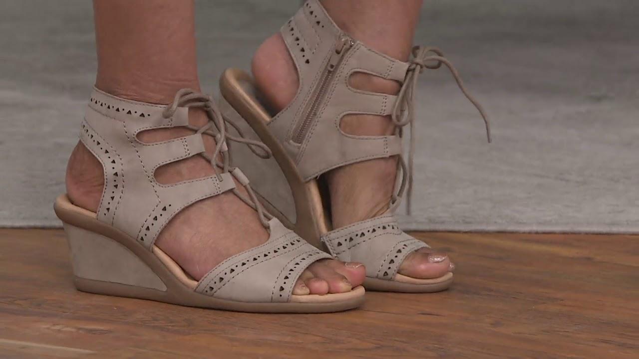d691ec86edd Earth Leather Lace-up Peep-Toe Wedge Sandals - Daffodil on QVC - YouTube
