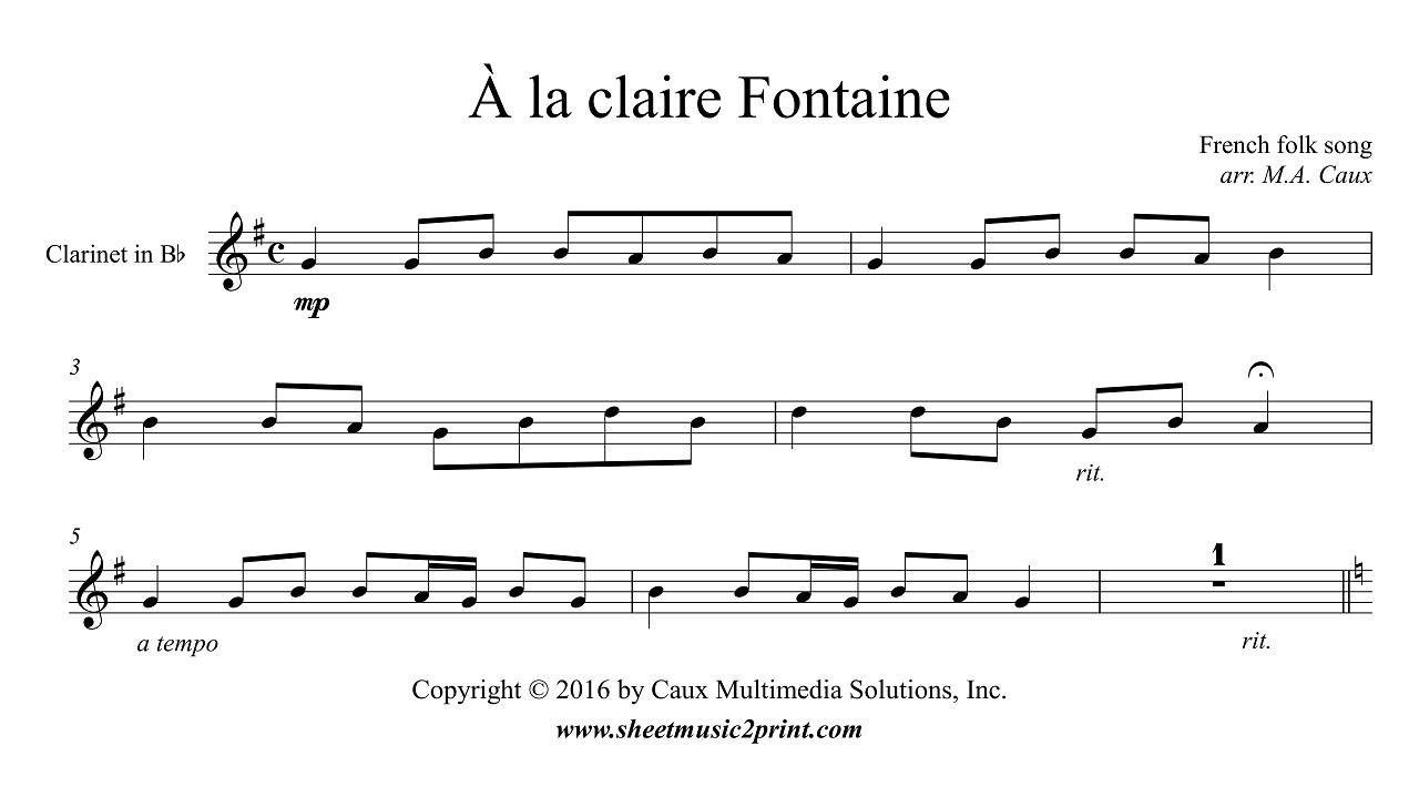Uncategorized A La Claire Fontaine la claire fontaine clarinet youtube clarinet