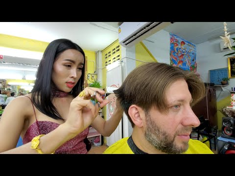 💈Haircut With BEAUTIFUL THAI LADYBOY Nin Barber In Pattaya Thailand | Part 1 Of 3