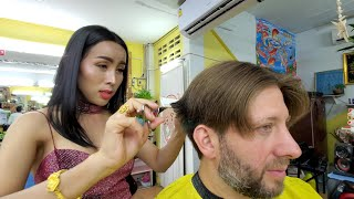 💈Haircut with BEAUTIFUL THAI LADYBOY Nin Barber in Pattaya Thailand | Part 1 of 3