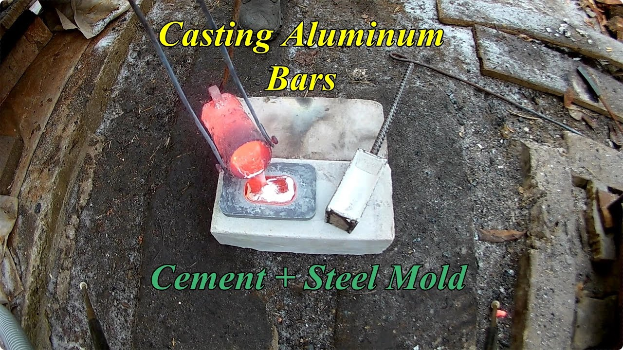 Casting Aluminum Bars  Cement and Steel Mold