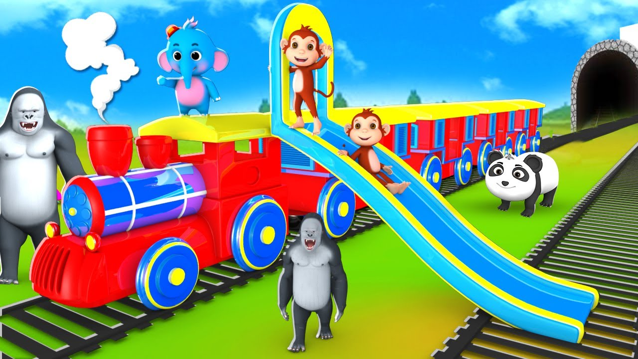 Funny Animals Train Slider Ride - Gorilla and Monkey save Forest | Comedy Animal 3D Jungle Videos