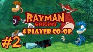 """Rayman Origins (4 Player Co-op) Let's Play [Part 2] - """"BELLY SLIDE, YEAAAAH!"""""""