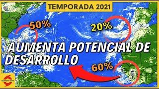 Nueva onda tropical aumenta sus probabilidades de desarrollo. Vigilamos otros dos disturbios.