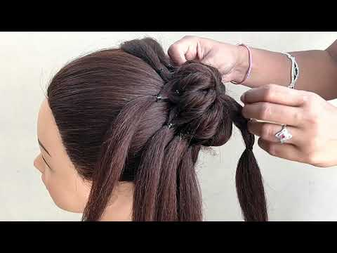 Easy Hairstyles For Party And Wedding \Beautiful Bun With Trick || Party Bun Updos | Juda Hairstyle thumbnail