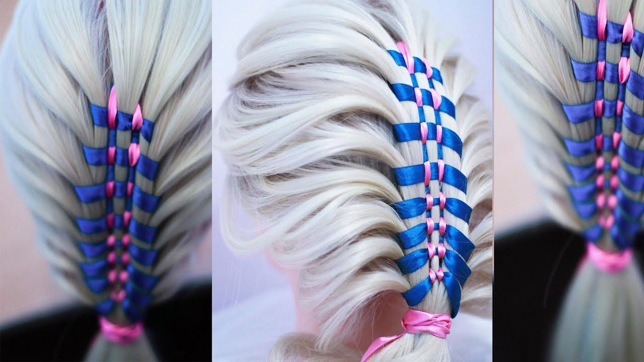 Причёска из косы с лентами БЫСТРО и ПРОСТО Peinado fácil y rapido