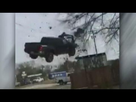 Truck takes flight in dramatic end to police pursuit