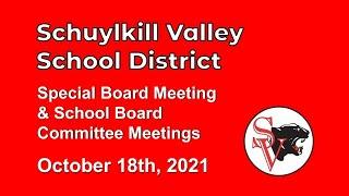 October 18 2021 Schuylkill Valley SD Board Meeting