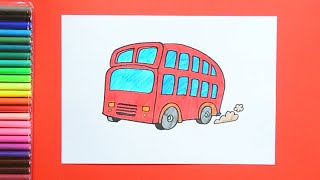 How to draw and color a London Double Decker Bus