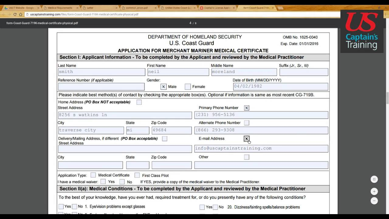 Captains license Medical Certificate Form Section I YouTube – Medical Certificate Form