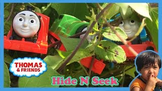 Ryan plays with Thomas and Friends Hide and Seek at the Park