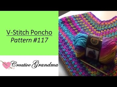 Quick & Easy V-Stitch Poncho (Free Pattern at end of video)