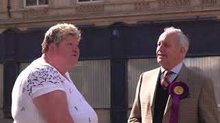 Neil Hamilton speaking to the people in Newport West