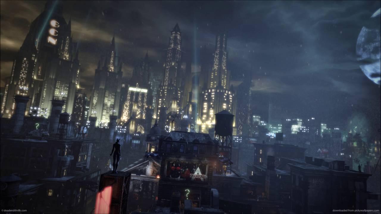 Anime Girl Looking At Sky Wallpaper Gotham City Arkham City Rooftops Batman Background