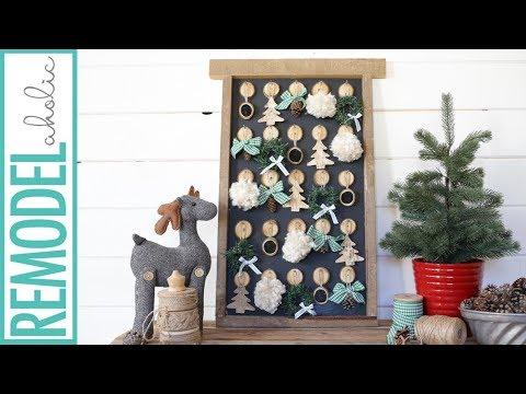 Christmas Advent Calendar DIY; Rustic Farmhouse Style Advent Calendar with DIY Ornaments