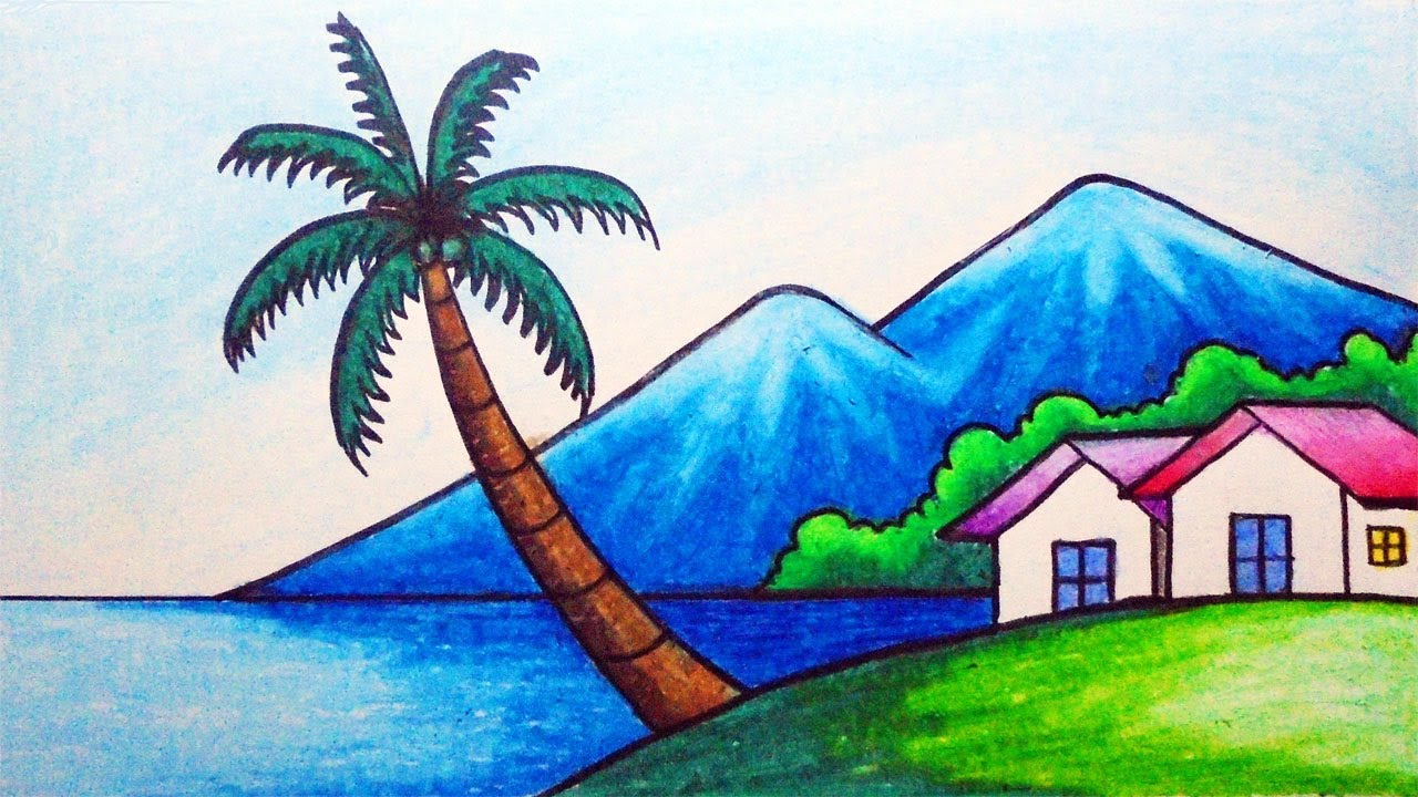 Easy Nature Scenery Drawing | How to Draw Mountain, Beach, Sea, and Houses Step by step