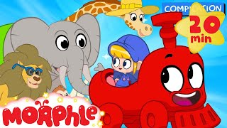 My Magic Animal Train - My Magic Pet Morphle episodes for kids. (Lion, Monkey, Giraffe and Elephant)