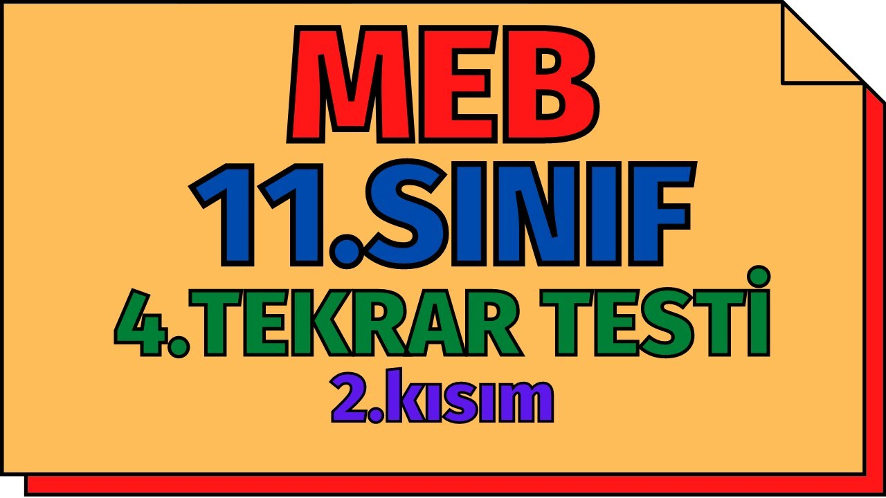11.Sınıf Kimya 4.Tekrar Testi - 2.Kısım MEB   AYT 2020