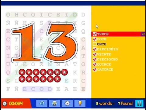 los números 11 - 20 sopa de letras - Spanish numbers - word search ...