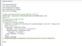 VBA Excel Loops Practice - Guessing Game