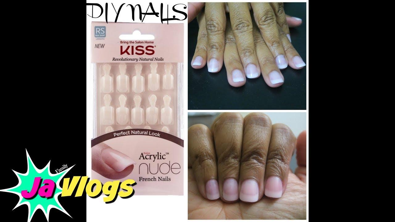 DIY FAKE NAILS | KISS ACRYLIC NUDE FRENCH NAILS | JaVlogs - YouTube