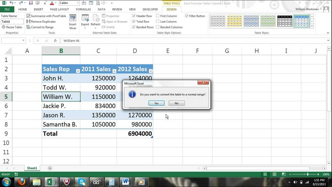 Excel For Noobs Part 40 How To Convert A Table Normal Range Of Cells 2017 2016