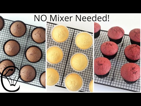 3 EASY CUPCAKES NO Mixer Needed Chocolate Vanilla Red Velvet Soft Light Fluffy BEST Cupcakes Ever