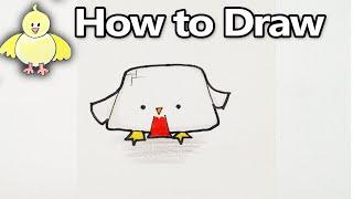 How to Draw a Cute Cartoon Chicken | Kawaii Minecraft