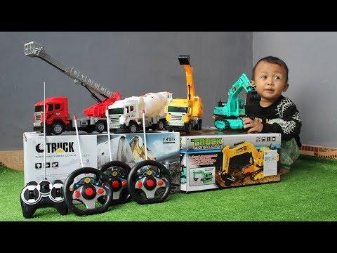 Unboxing Mainan Mobil Truk - Excavator, Damkar, Mobil Molen & Mobil Beko - Koleksi Mainan RC