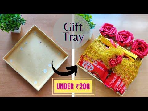 Handmade gift tray / platter under ₹200 || chocolate gift hamper || handmade gift basket ||