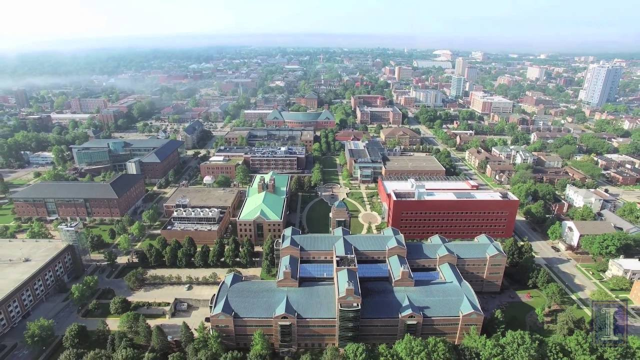 A screenshot from Aerial Video of Beckman Institute, Engineering Quad, and North Campus Area