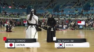17th World Kendo Championships Woman Indiv 2ch M.SENOO(JPN) vs N.IM(KOR)