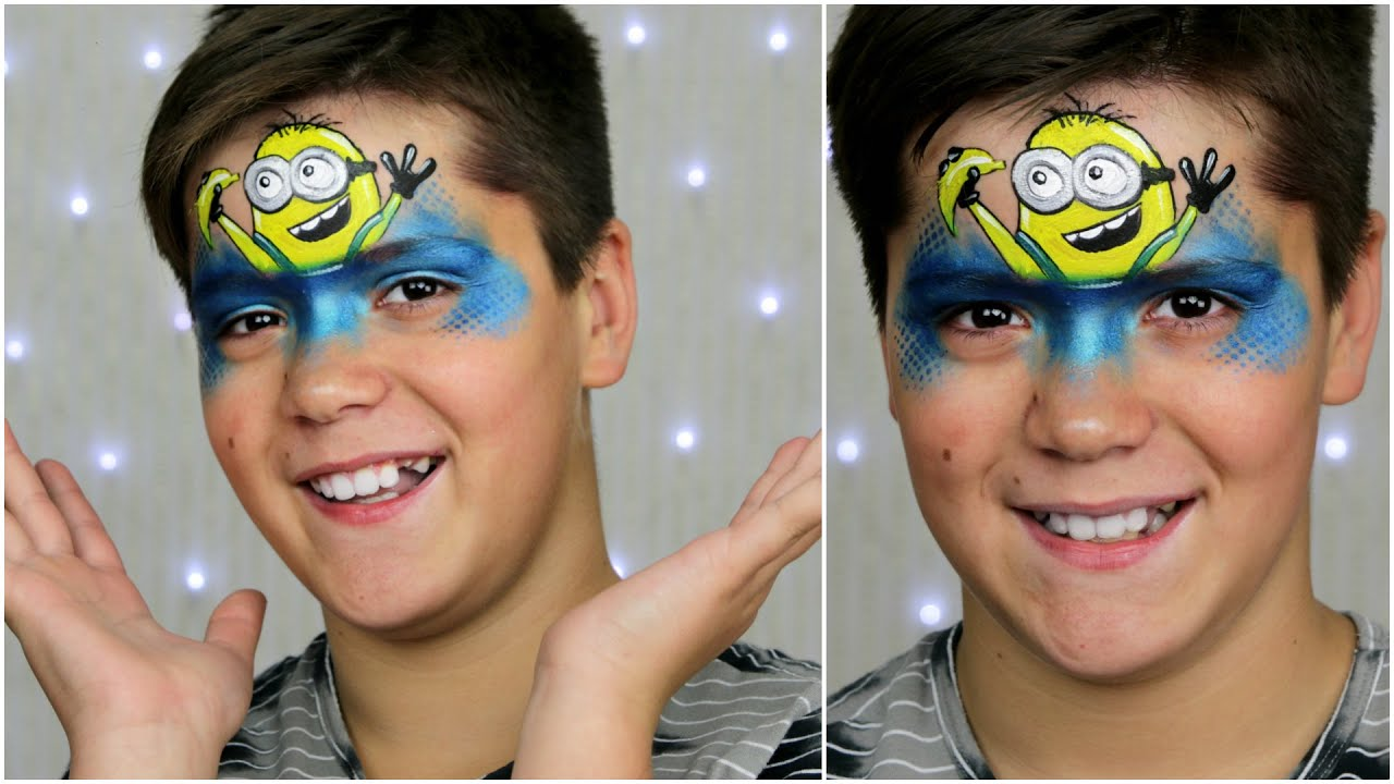 happy minion face painting makeup tutorial for children youtube. Black Bedroom Furniture Sets. Home Design Ideas