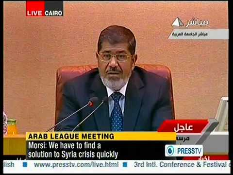 arab league meeting ..mohamed morsi egypt president spech