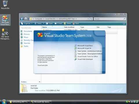 Run asp.net shopping cart AdVantShop.NET via Visual Studio.NET 2008 + SQL Server 2005