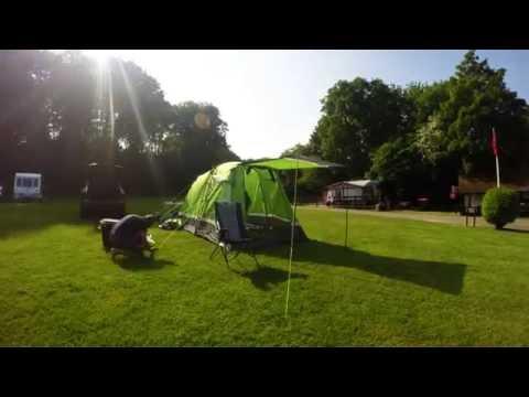 Mike & Jo tent setup Oldbury campsite Kent