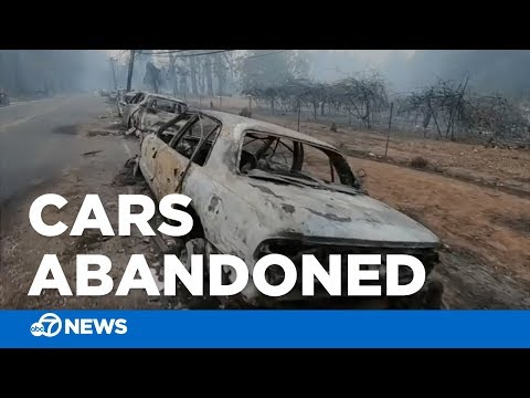 Camp Fire: Burned, abandoned cars after thousands flee Butte